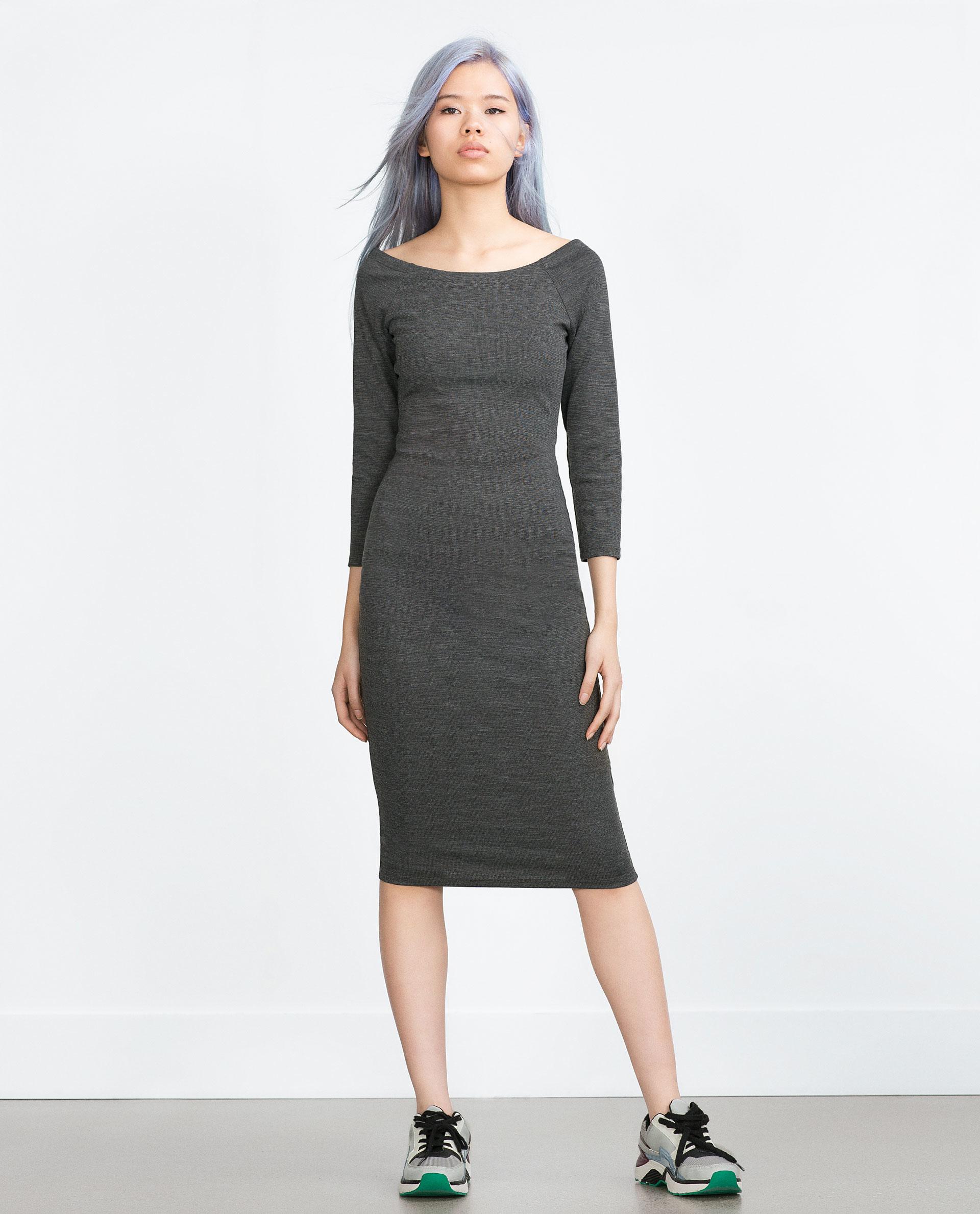 zara gray long tube dress lyst. Black Bedroom Furniture Sets. Home Design Ideas