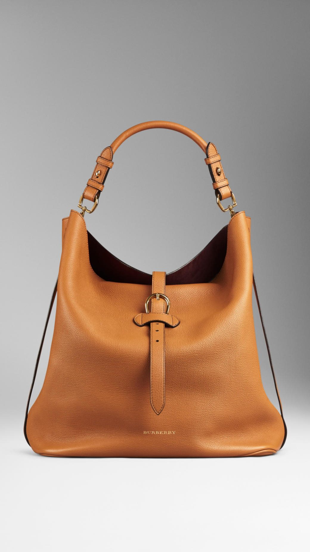 Burberry Large Buckle Detail Leather Hobo Bag in Brown | Lyst