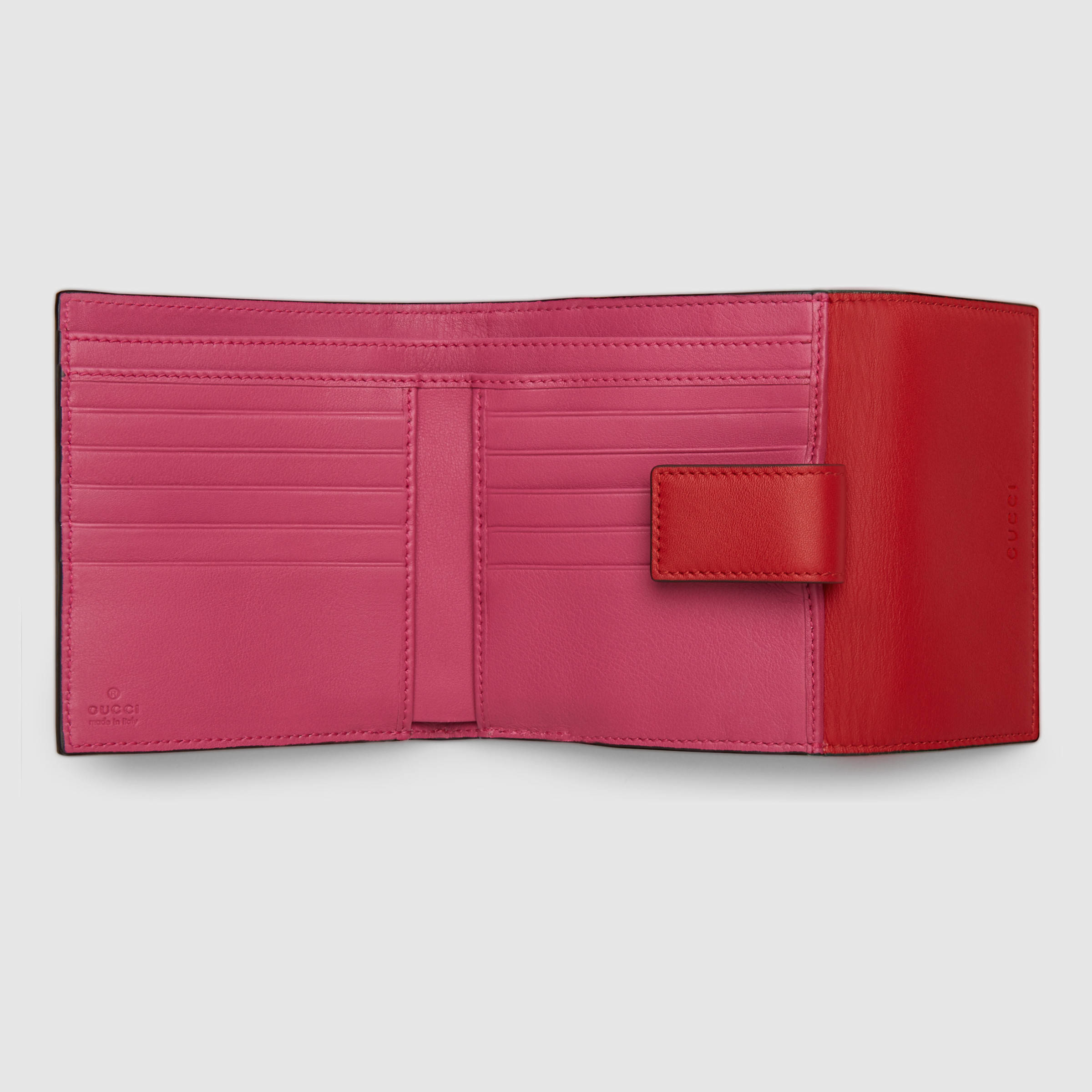 22c8fc61b76 Lyst - Gucci Gg Supreme French Flap Wallet in Red