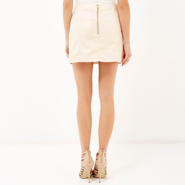 River island Cream Leather Look Zip Side Pelmet Skirt in Natural ...