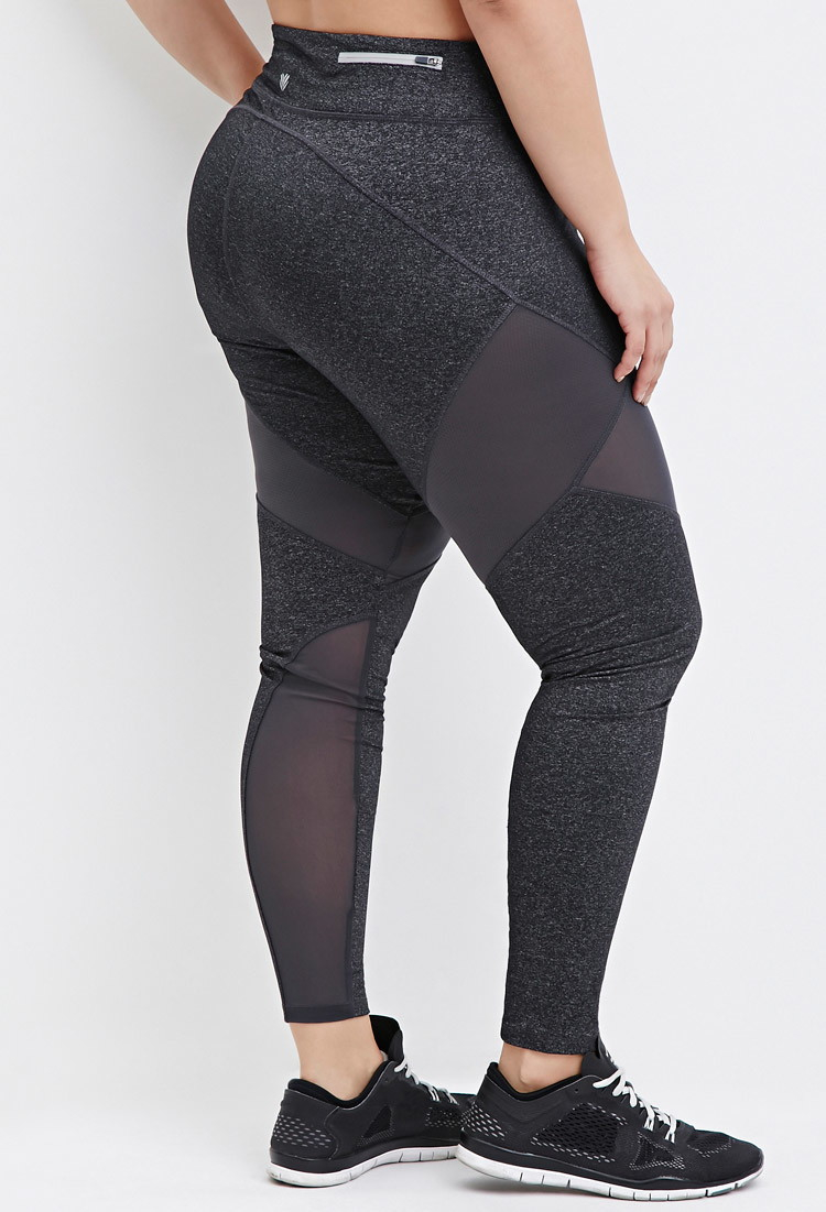 ee7678766bdb43 Forever 21 Plus Size Heathered Mesh-panel Athletic Leggings in Gray ...