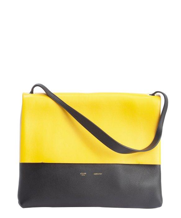 celine ecru leather handbag gusset