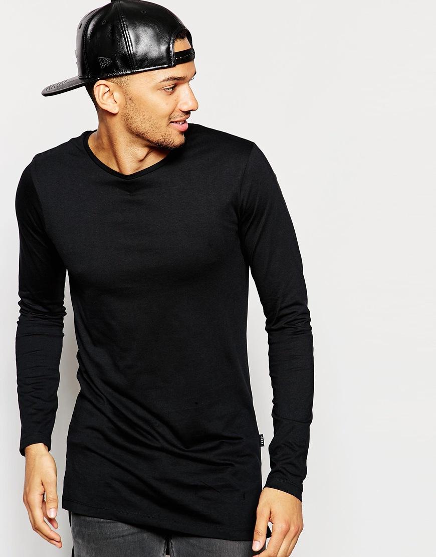 Jack & jones Longline Long Sleeve Top in Black for Men | Lyst