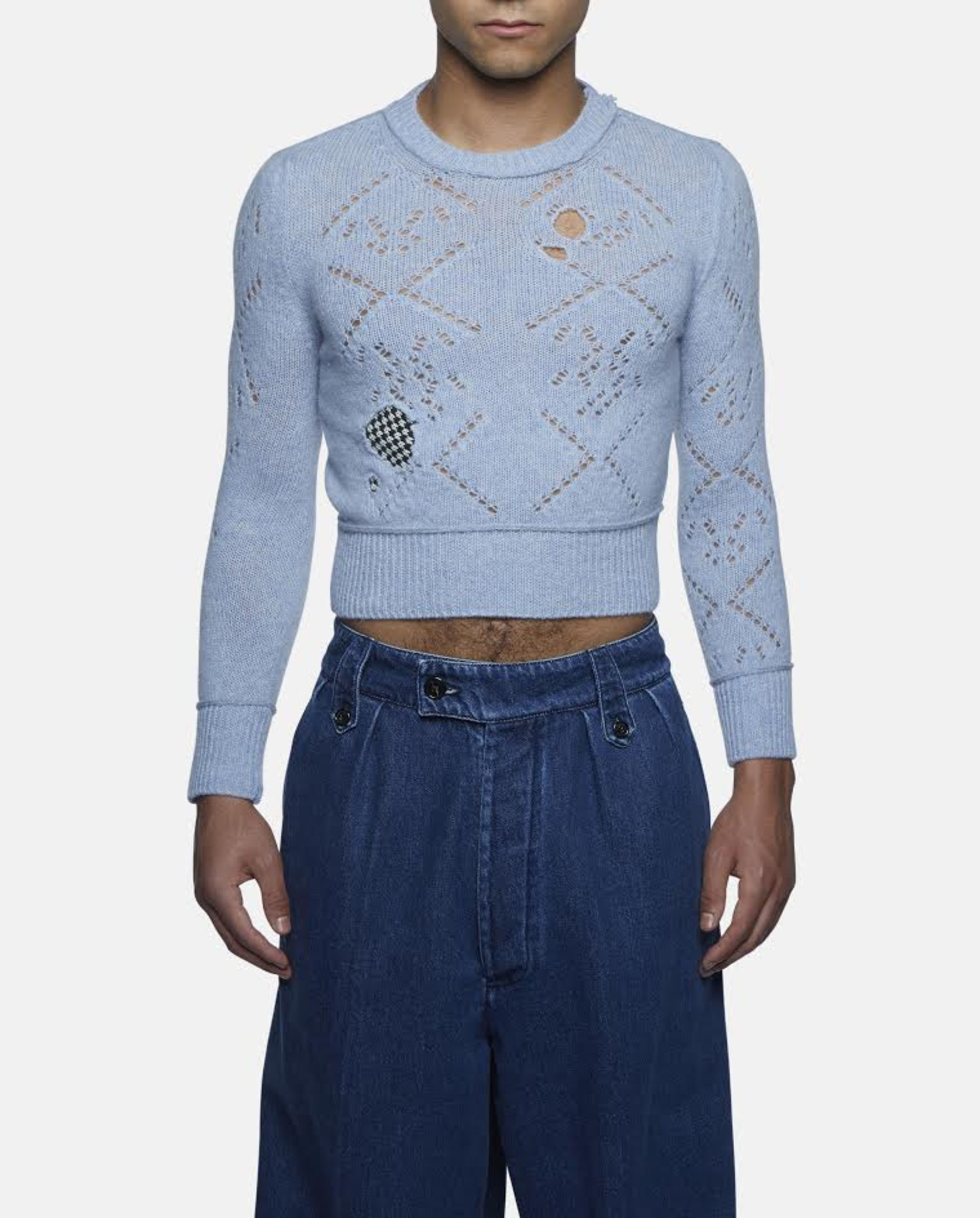 Raf simons Blue 'destroyed' Cropped Roundneck Sweater in Blue for ...