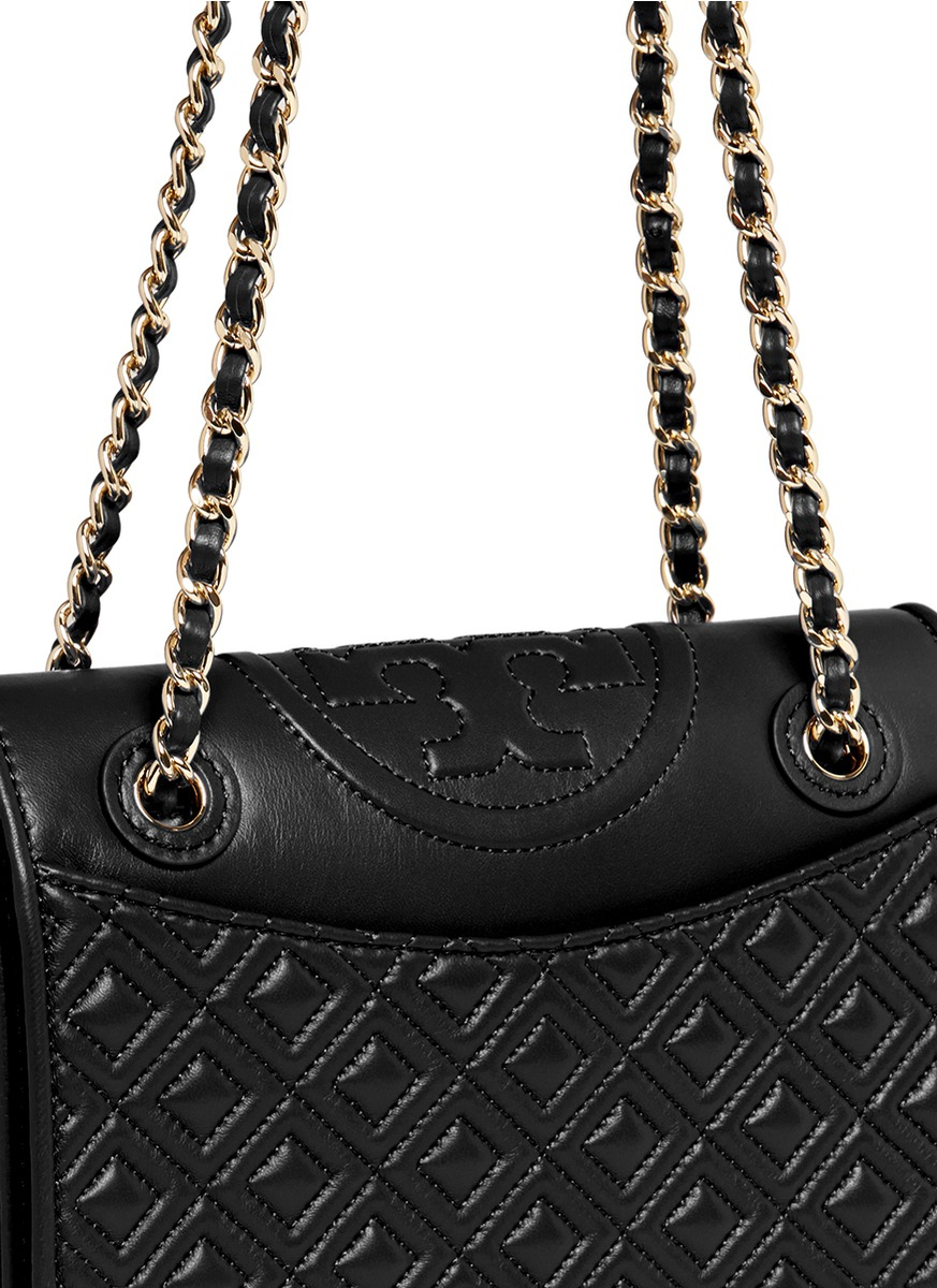 510d687a6446 Lyst - Tory Burch  fleming  Medium Quilted Leather Bag in Black