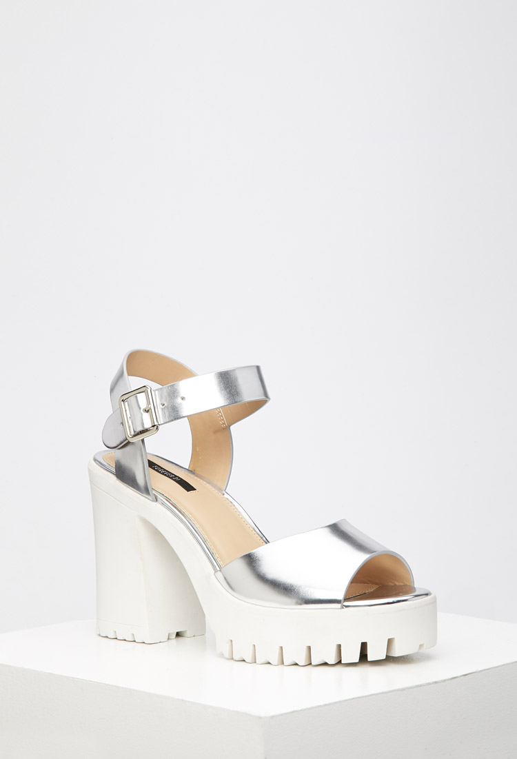 0415d8a204 Forever 21 Lug Sole Metallic Platform Sandals in Metallic - Lyst