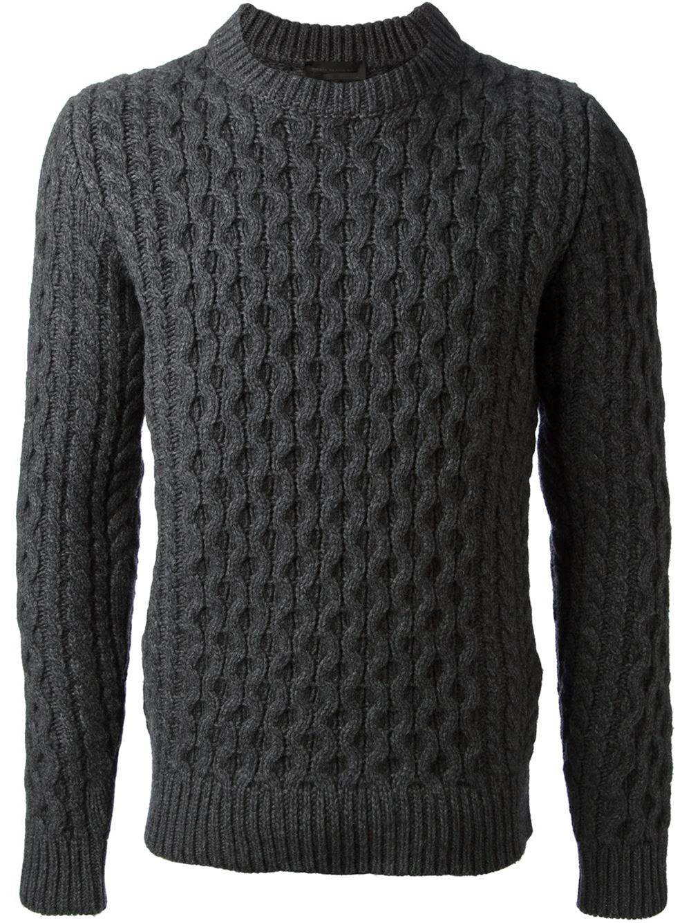 Diesel black gold Cable Knit Sweater in Gray for Men | Lyst