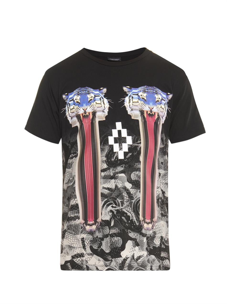 Marcelo burlon digital print t shirt in black for men lyst for Digital printed t shirts