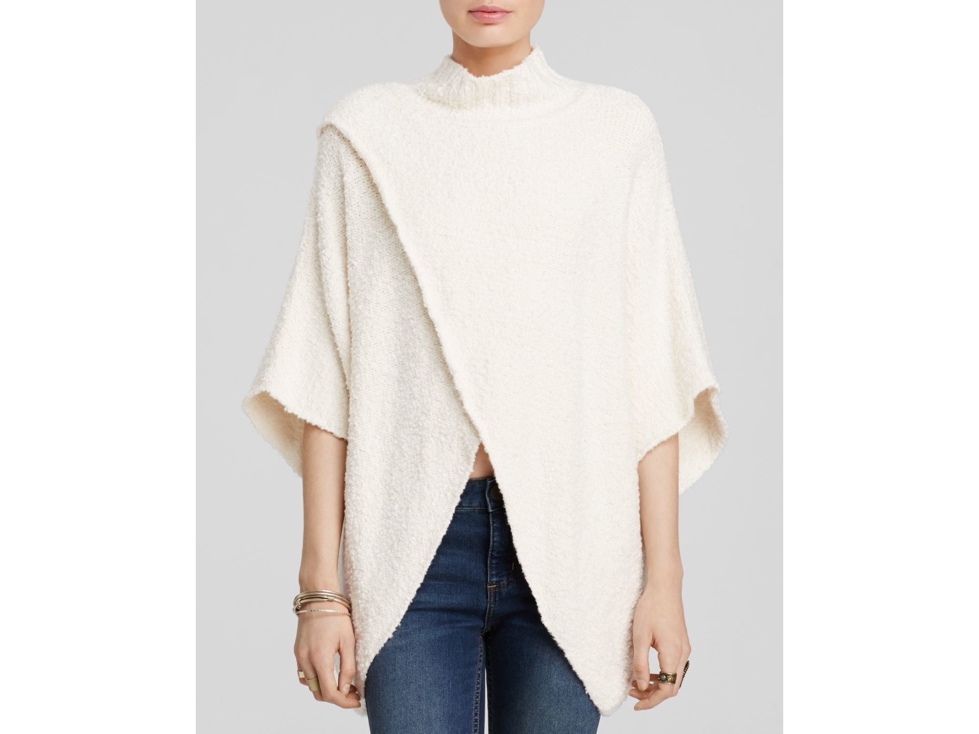 Free people Mock Neck Cocoon Sweater in Natural | Lyst
