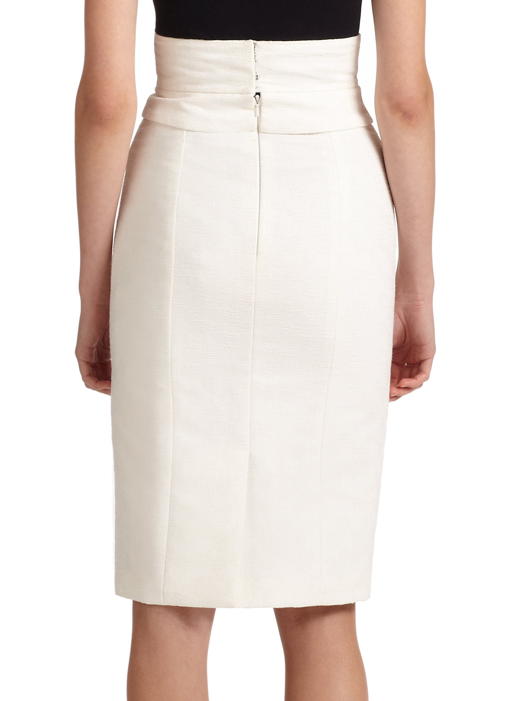 Lyst - Carolina Herrera High-waist Pencil Skirt in White