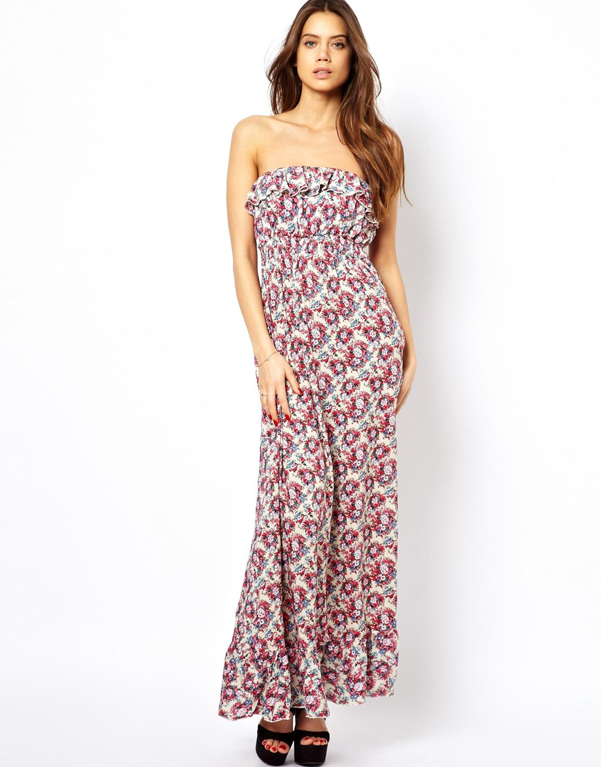 Little Mistress Multicolor Ruffle Top Maxi Dress
