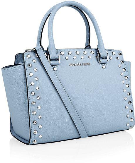 michael michael kors selma jewel satchel in blue light blue lyst. Black Bedroom Furniture Sets. Home Design Ideas