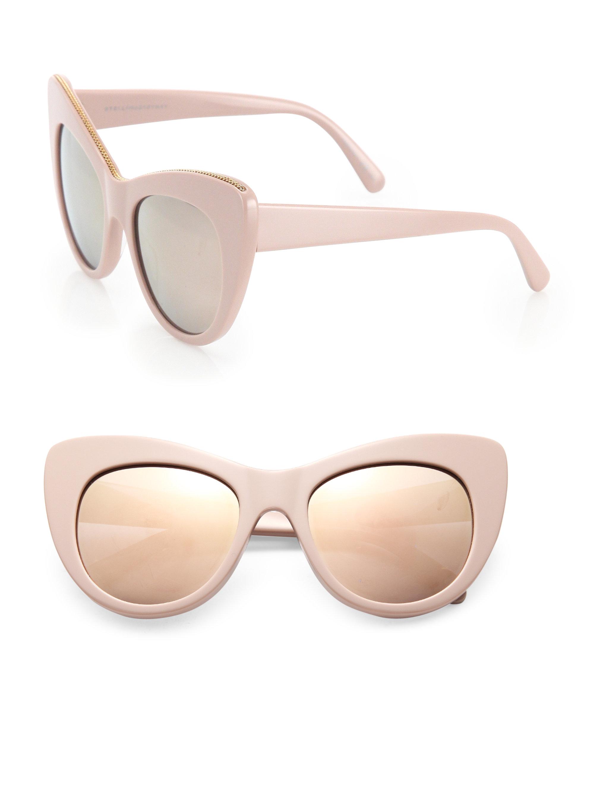 600aee7a87 Stella mccartney Falabella Chain 53mm Oversized Cat Eye ... Lyst - Stella  Mccartney Black Cat Eye Sunglasses ...