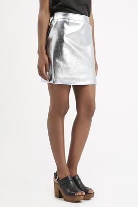 Topshop Metallic A-line Mini Skirt By Sister Jane in Metallic | Lyst