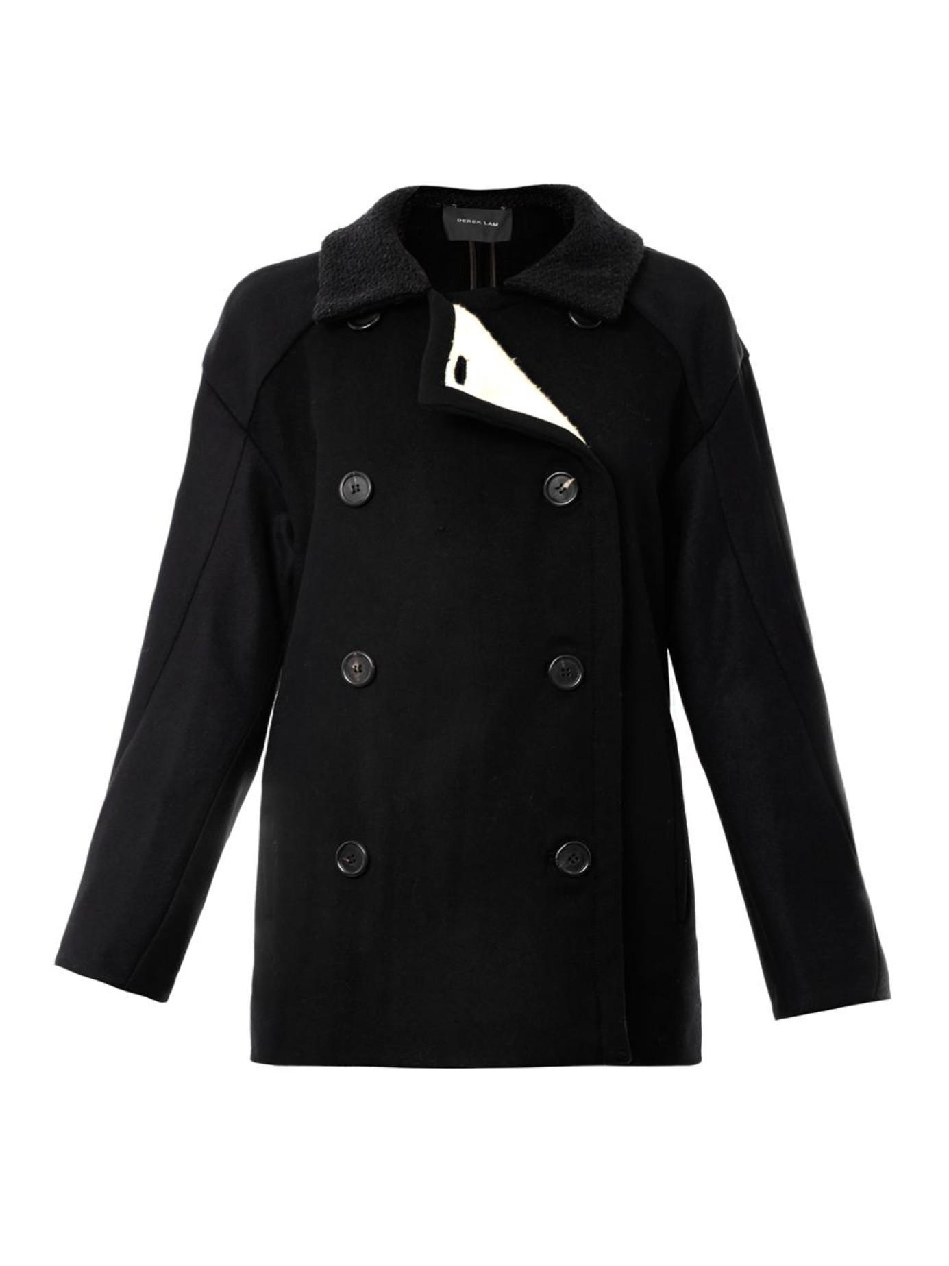 Derek lam Fleece-Lined Wool Pea Coat in Black | Lyst