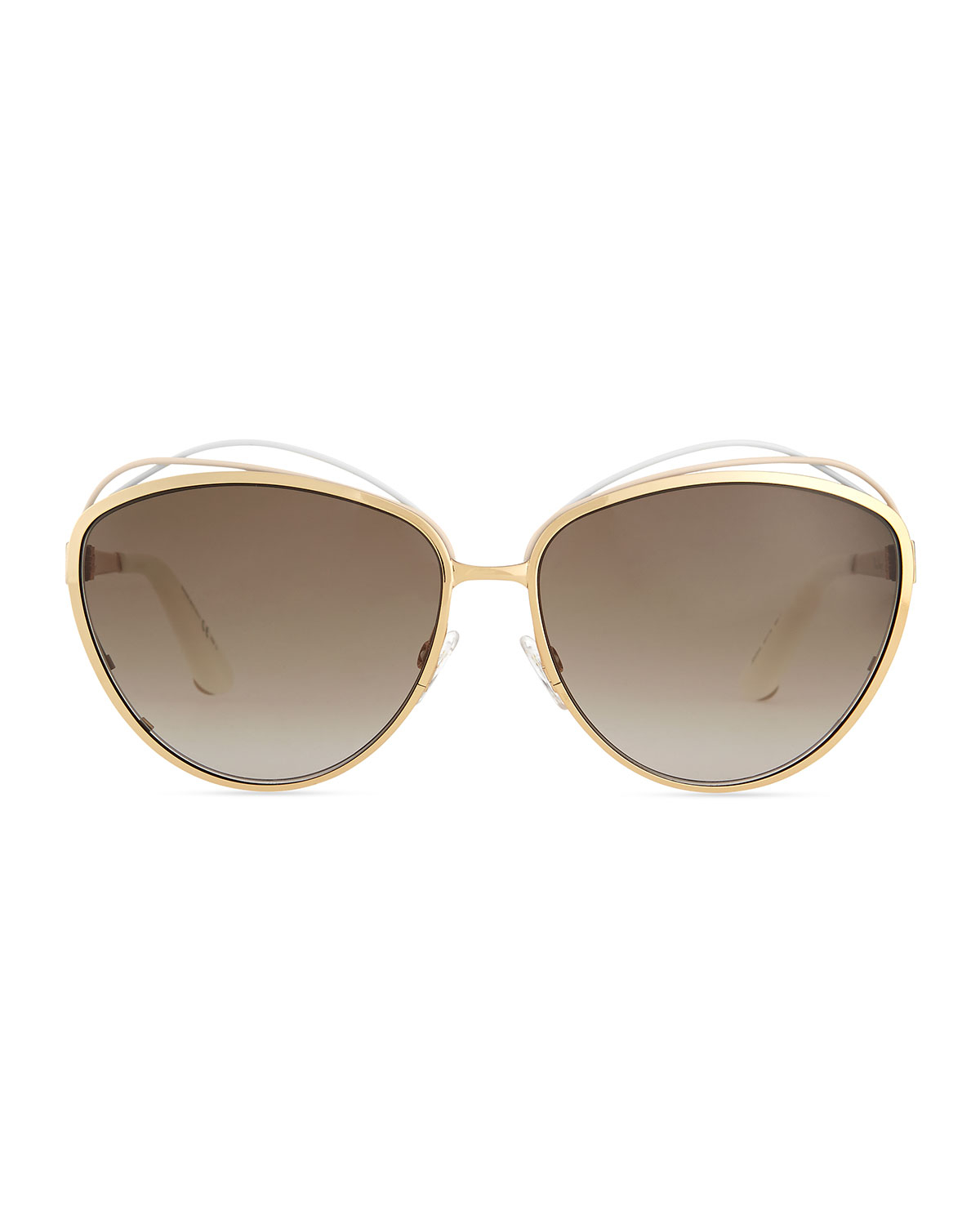 b3138e02304b Lyst - Dior Golden Metal Butterfly Sunglasses With Wire in White