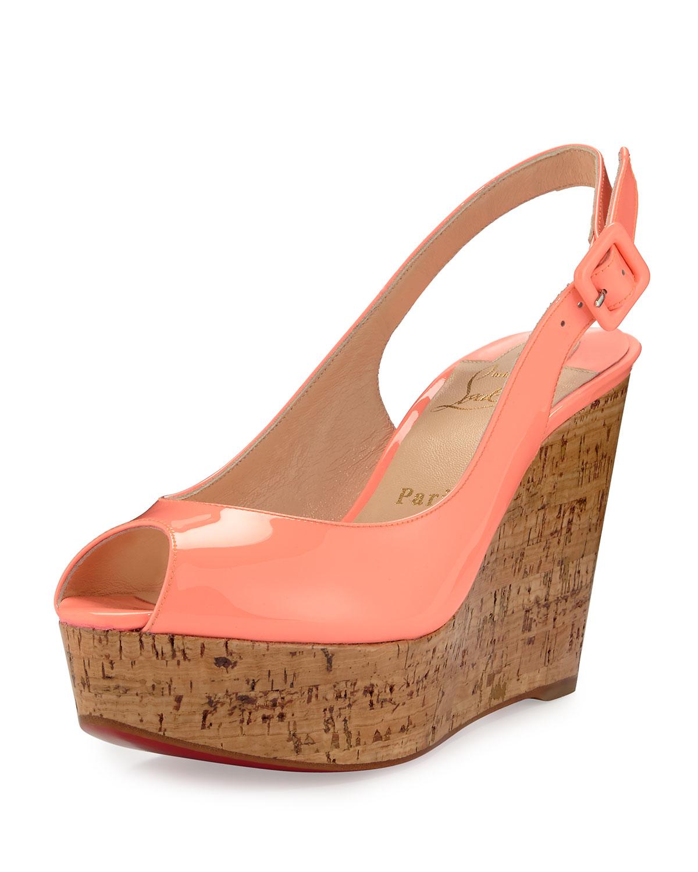 christian louboutin orange leather sandals