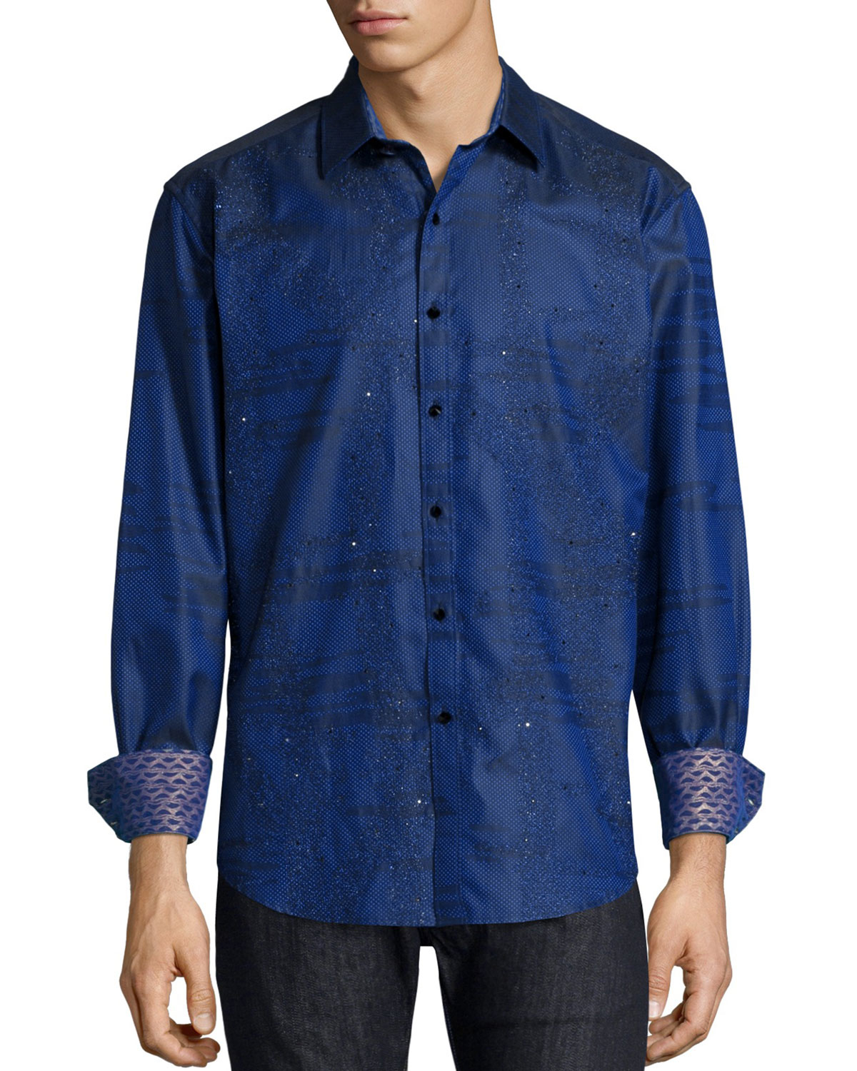 Robert graham printed long sleeve sport shirt in blue for for Where are robert graham shirts made