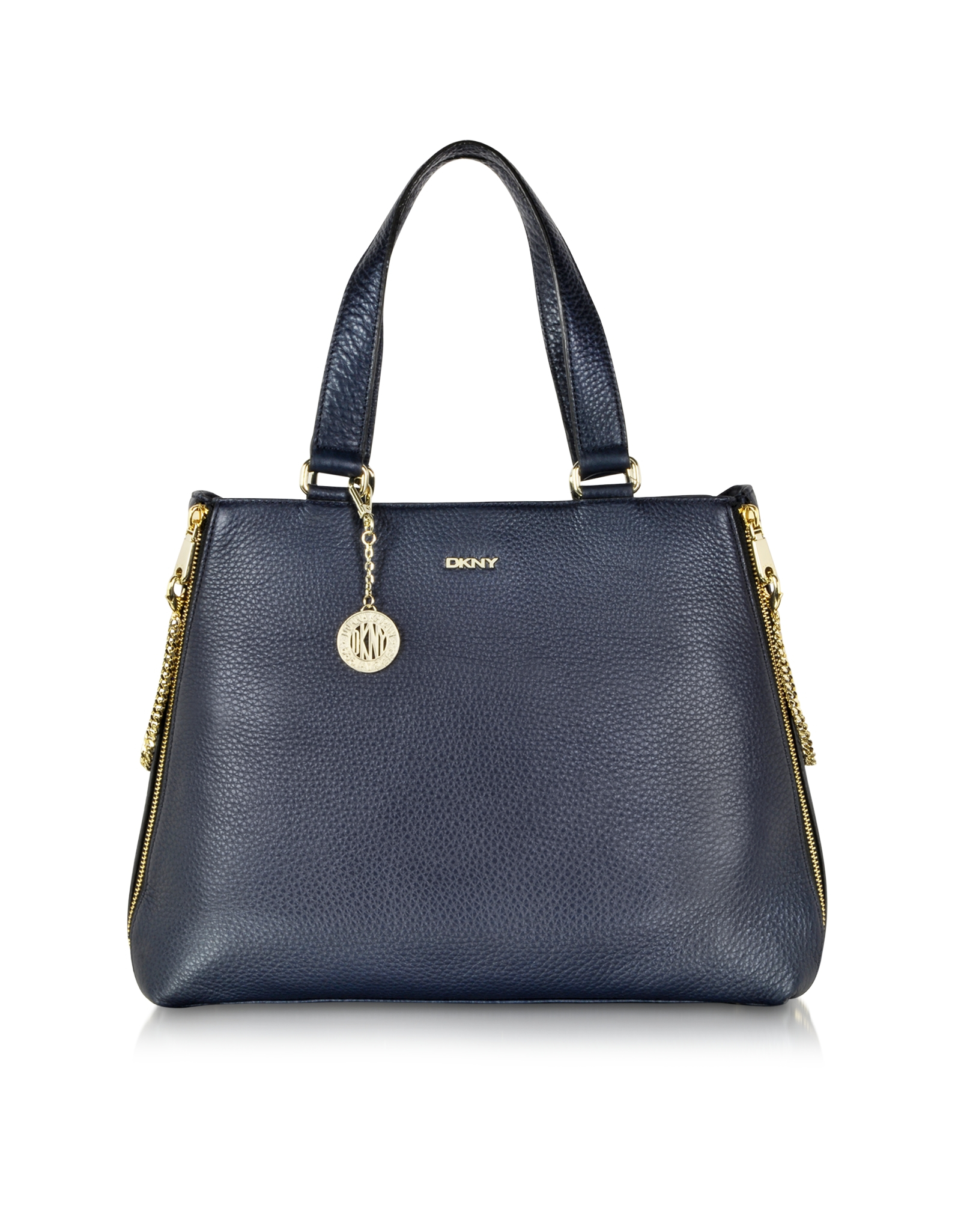 Dkny Tribeca Large Navy Blue Leather Tote Bag in Blue