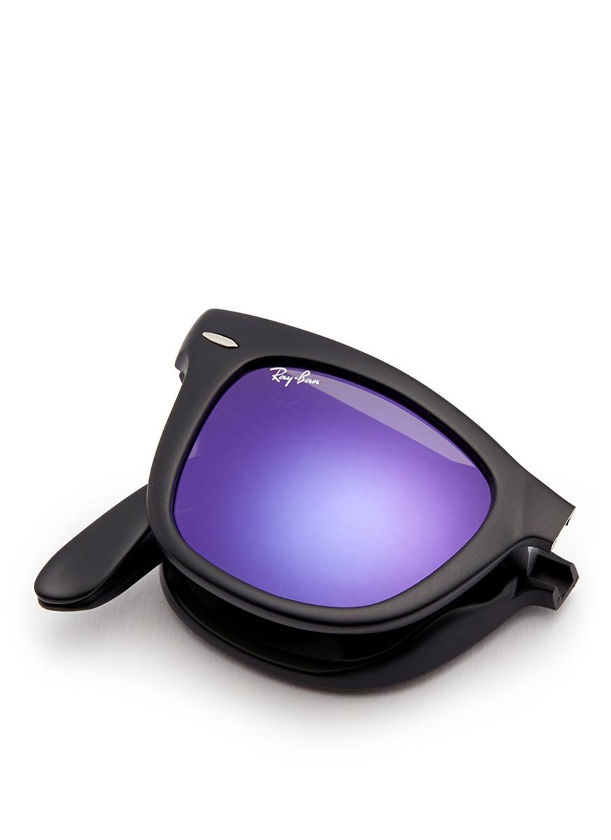 bcb22524e ... purple 7e88a d6ca0; australia lyst ray ban round folding flash mirror  sunglasses in blue for men 0564e 30ad2