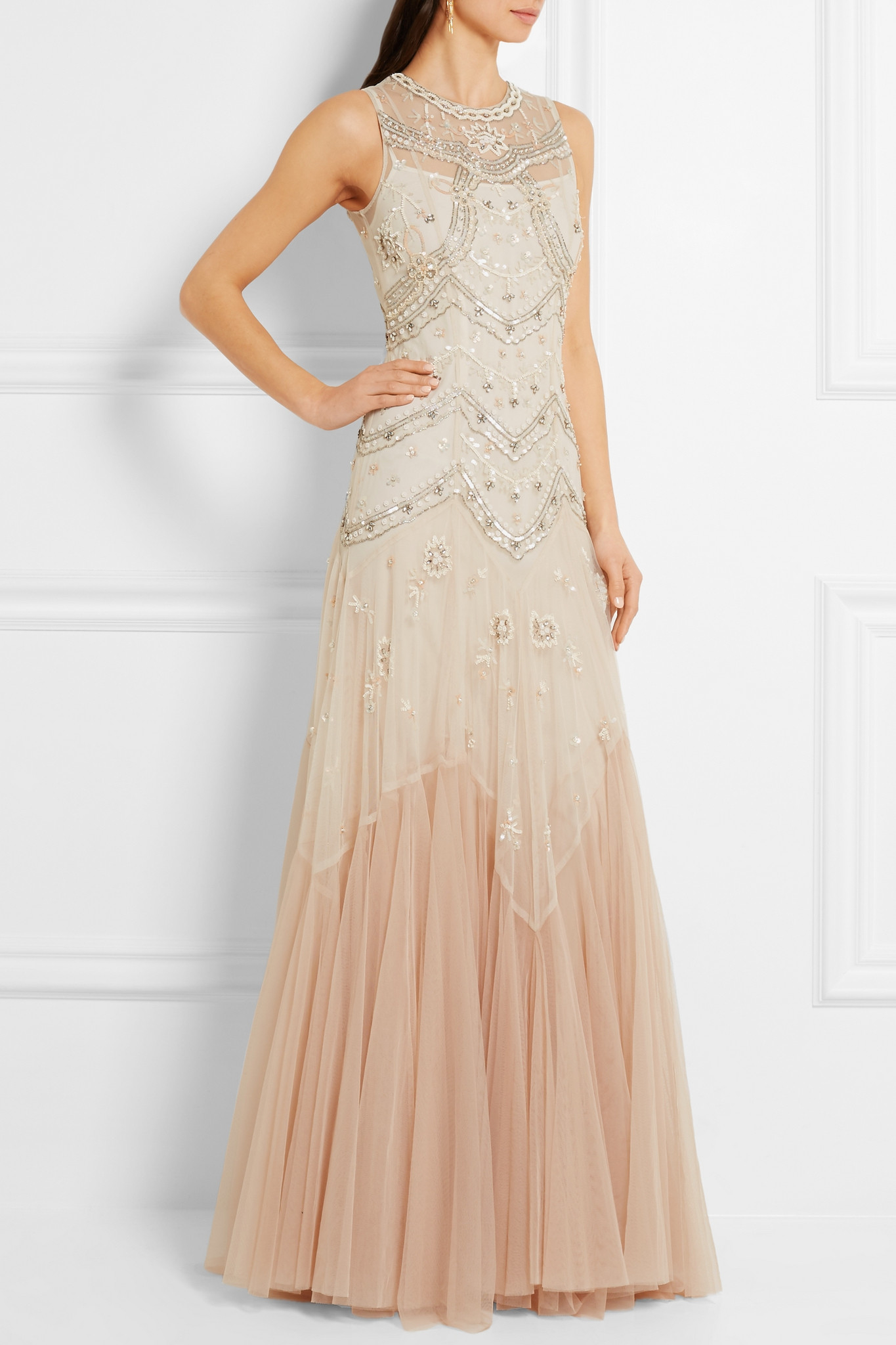 lyst needle u0026 thread embellished embroidered tulle gown in natural
