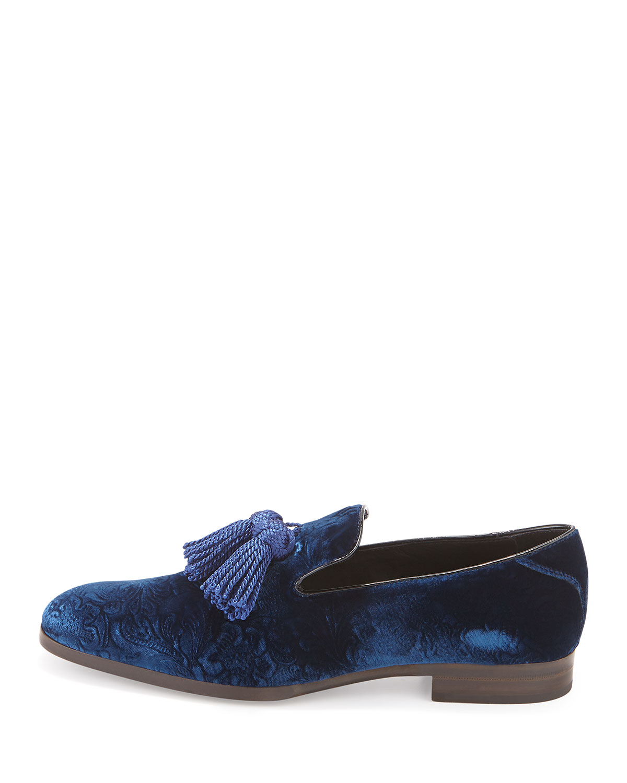 5e0ed704a38 Lyst - Jimmy Choo Foxley Velvet Tassel Loafer in Blue for Men
