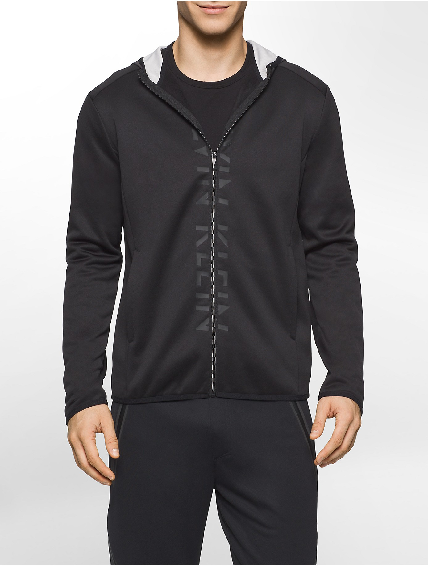 Calvin klein performance logo zip front hooded fleece for Zip front flannel shirt