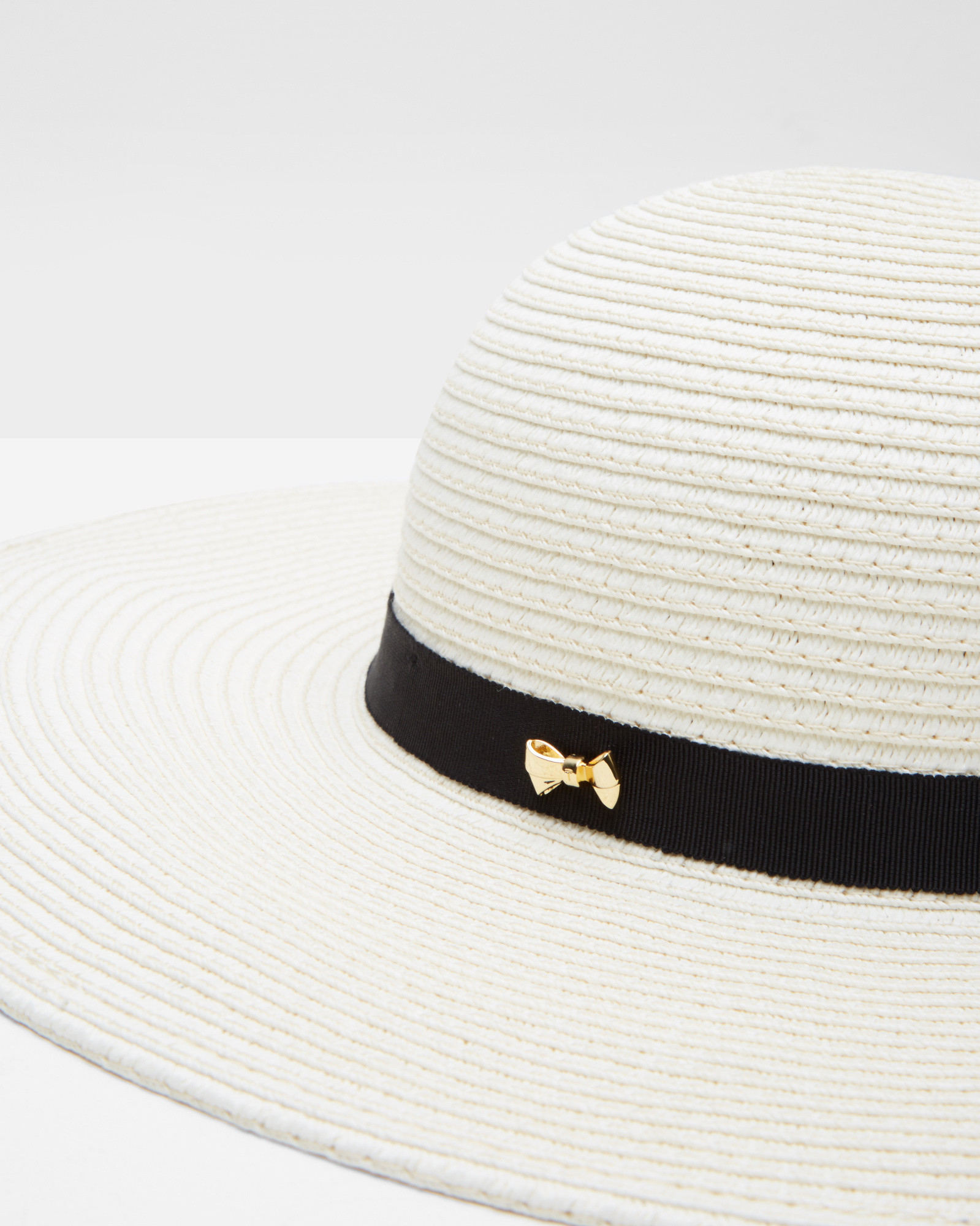 1fc49969a0cc12 Lyst - Ted Baker Micro Bow Straw Hat in White