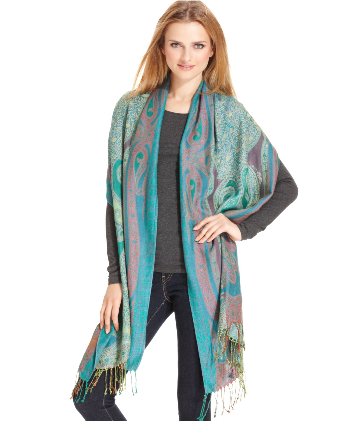 collection xiix paisley wrap scarf in gray black grey lyst