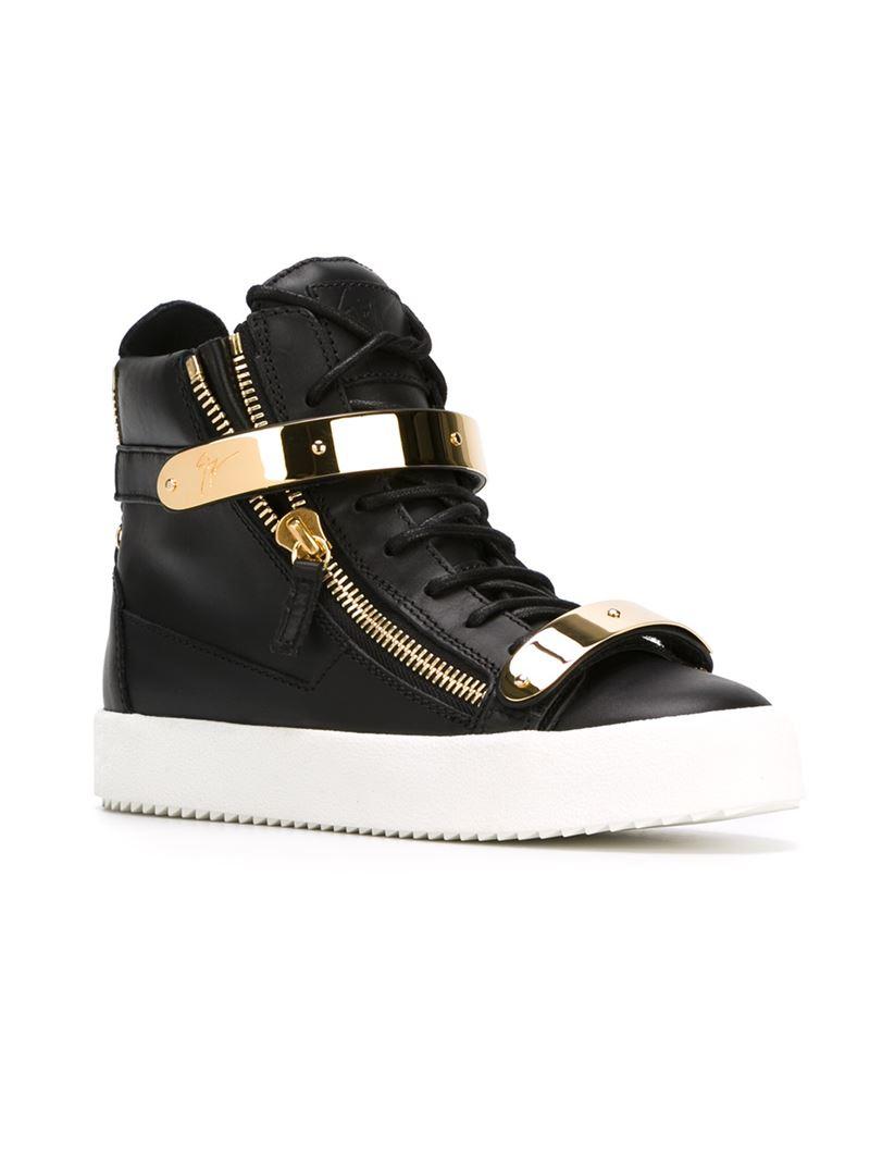 lyst giuseppe zanotti 39 francis 39 hi top sneakers in black. Black Bedroom Furniture Sets. Home Design Ideas