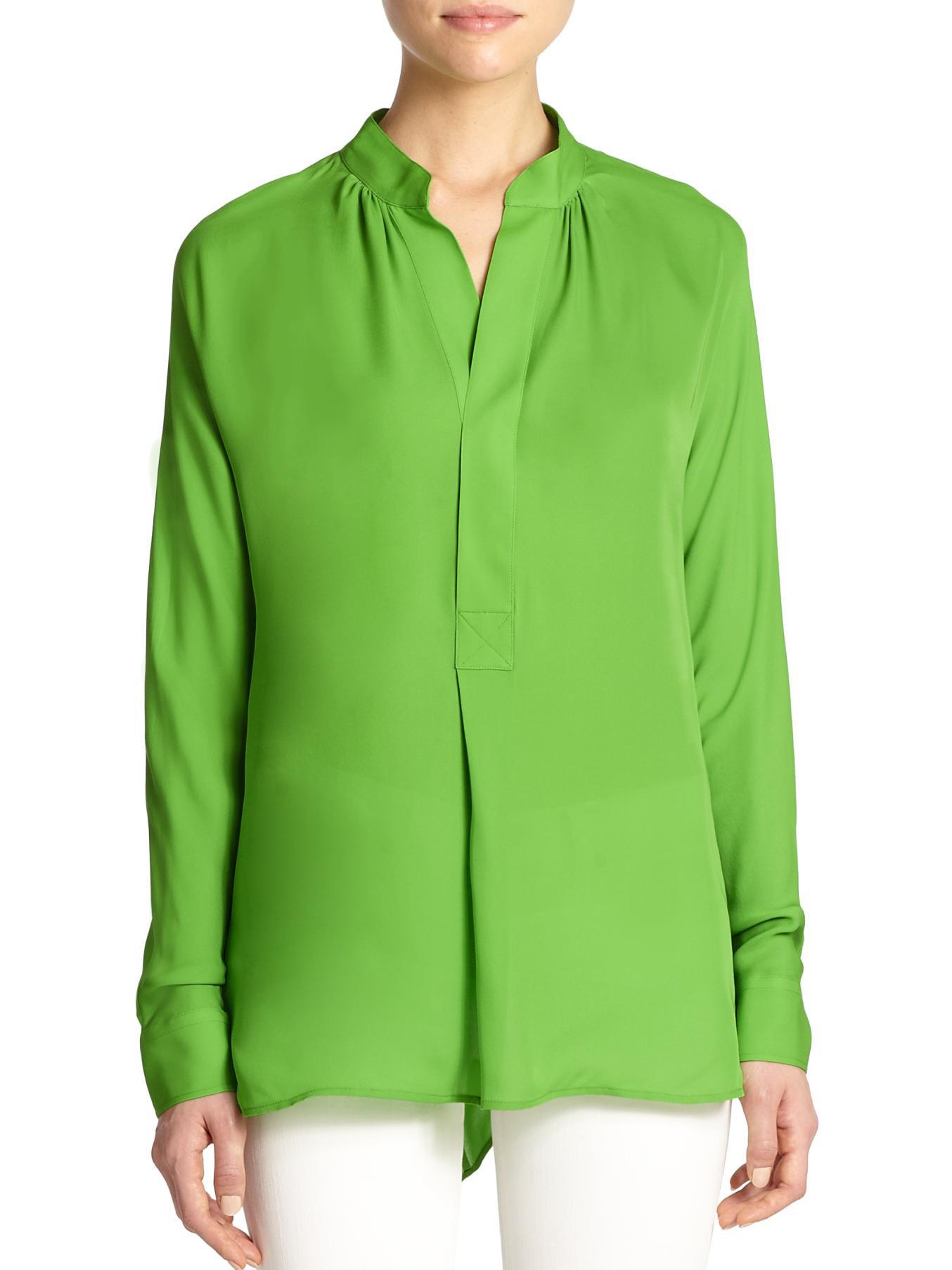 69f5ad1e265658 Lyst - Polo Ralph Lauren Silk Blouse in Green