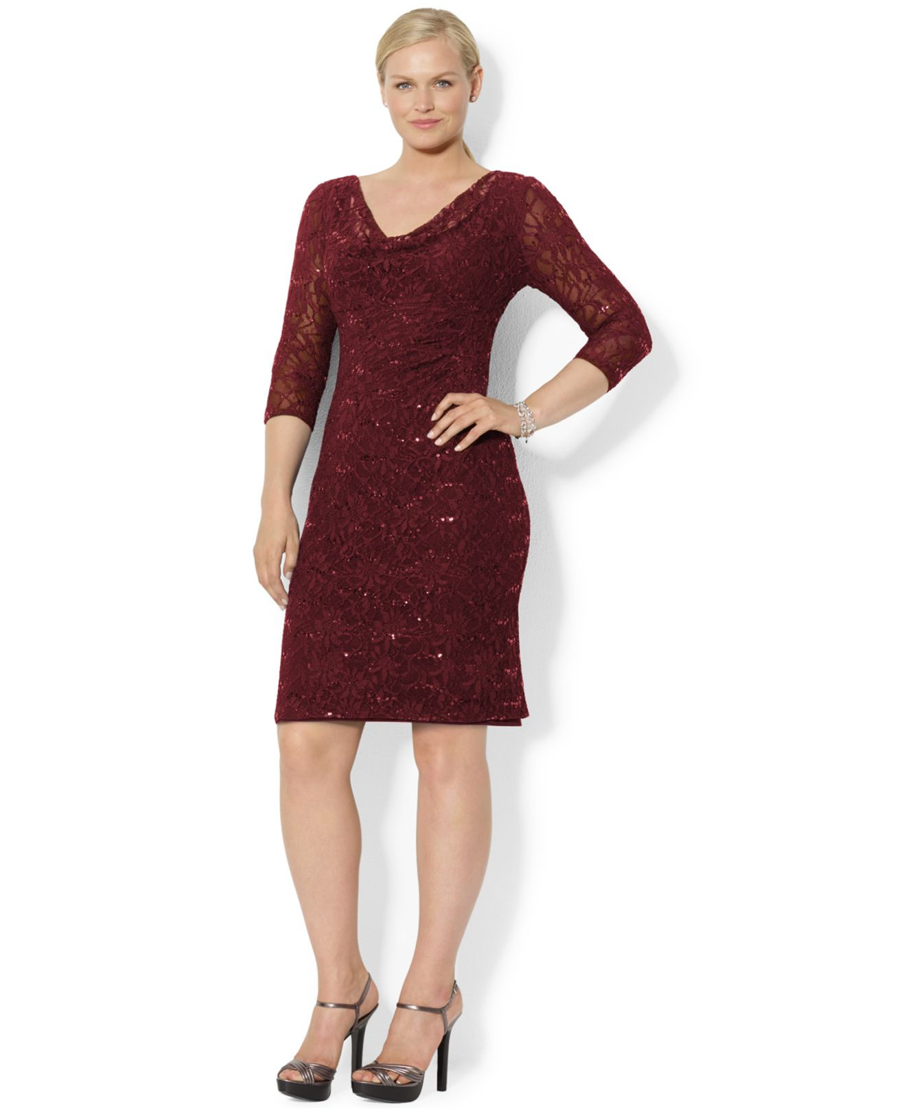 Lauren Ralph Lauren Väskor : Lyst lauren by ralph plus size sequin lace sheath