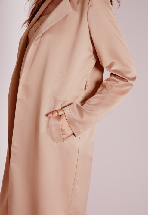 Missguided Satin Belted Maxi Duster Coat Rose Pink in Brown | Lyst