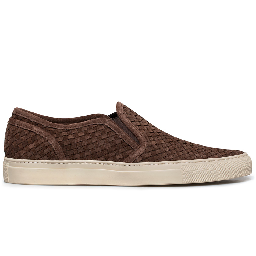 Buttero Dark Brown Suede Slip on Sneakers In For Men