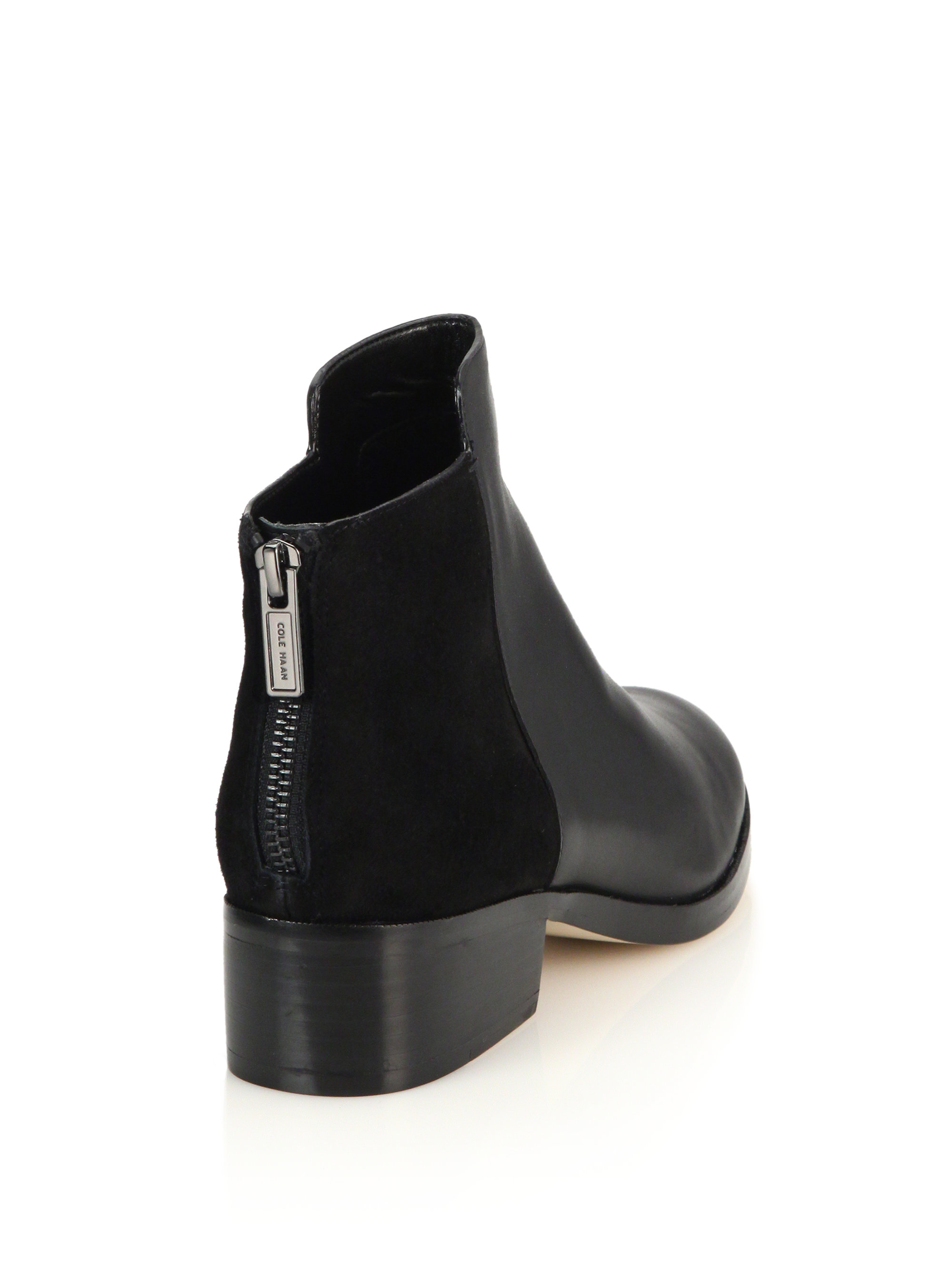 Cole haan Elion Leather & Suede Ankle Boots in Black | Lyst