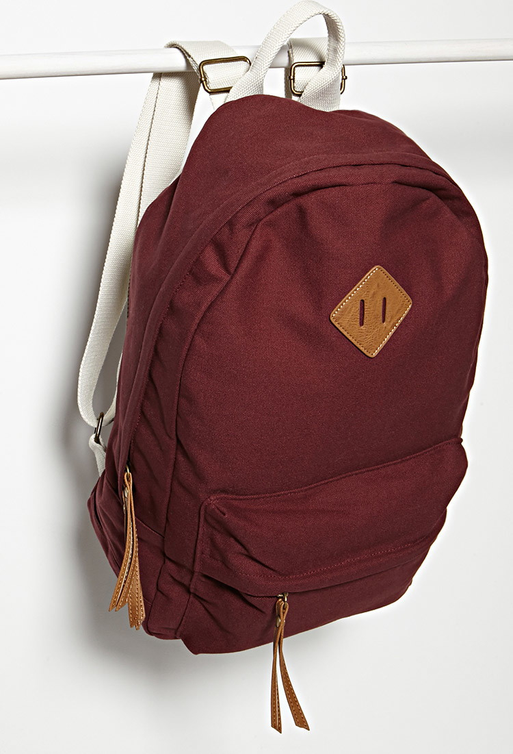 forever 21 classic canvas backpack in red lyst