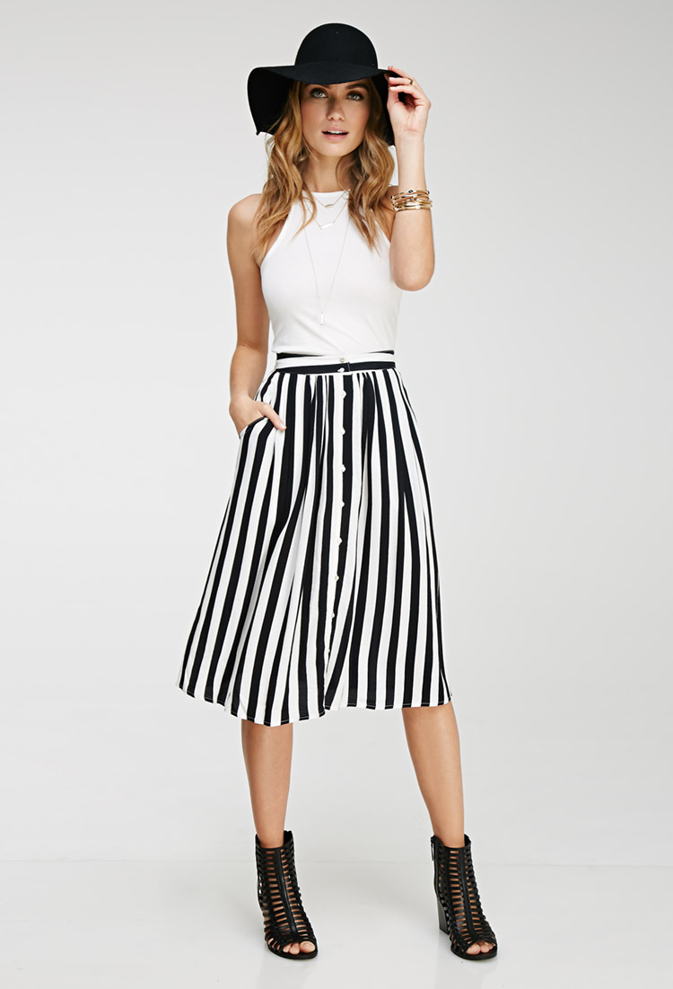 Forever 21 Contemporary Striped Midi Skirt in White | Lyst