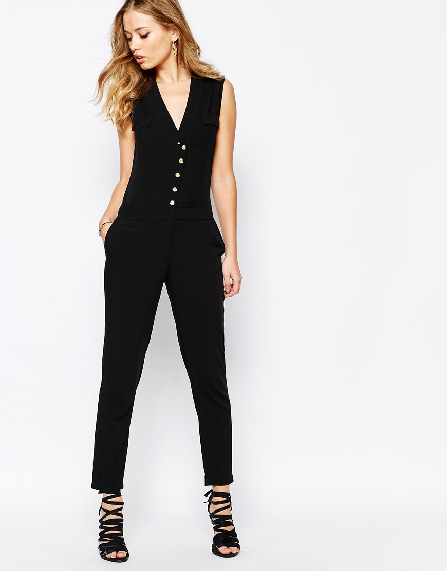 d8db872f070 Lyst - SuperTrash Wensando Jumpsuit With Gold Buttons - Black in Black