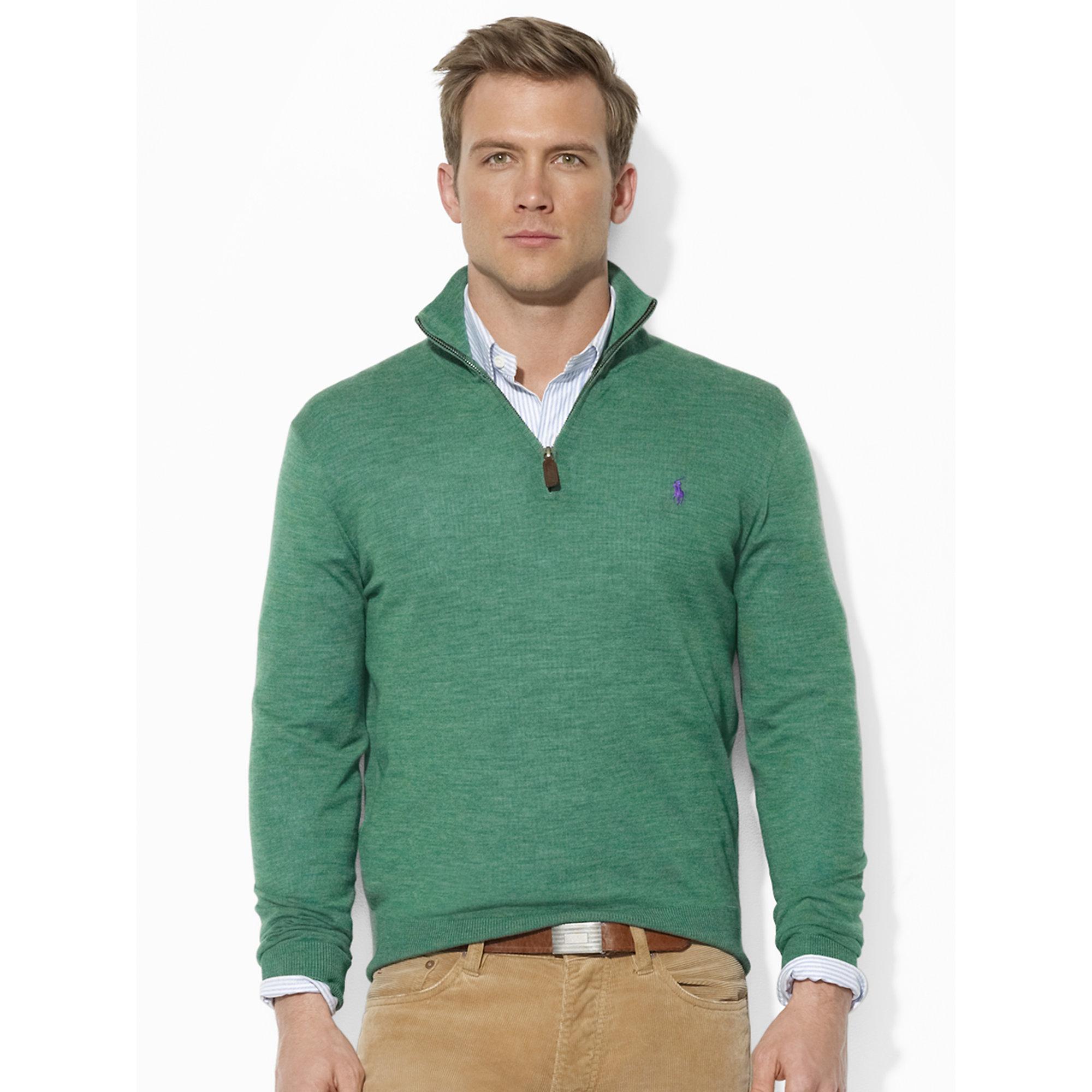 Lyst Polo Ralph Lauren Merino Wool Half Zip Sweater In Green For Men