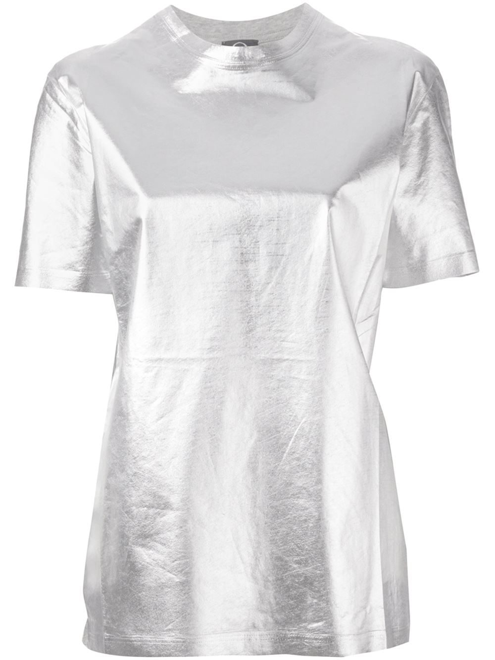 Mcq metallic panel t shirt in metallic lyst for Silver metallic shirt women s