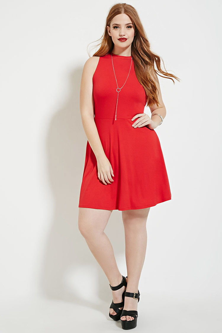 Forever 21 Plus Size High-neck Dress in Red   Lyst