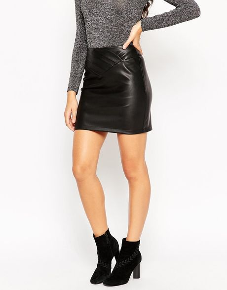 asos leather look mini skirt with 80 s waist in black lyst