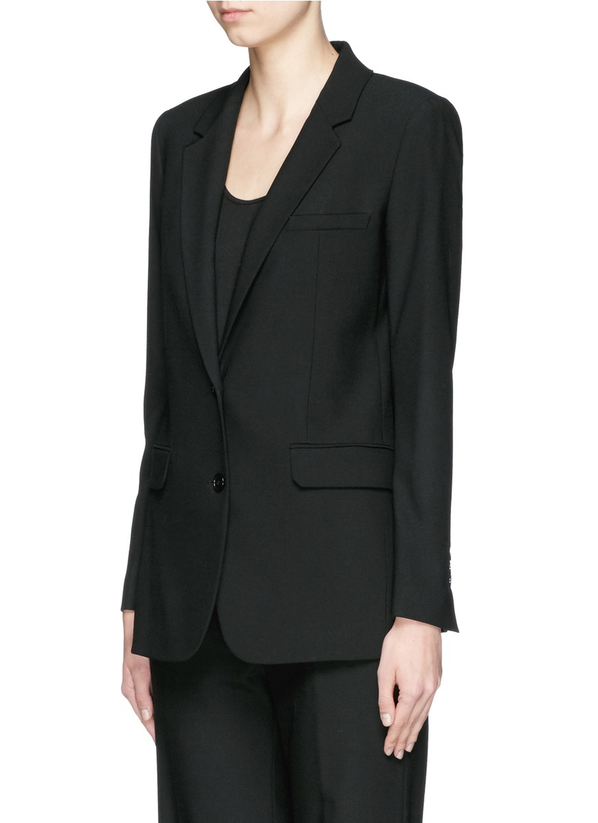 Lyst helmut lang shrunken stretch gabardine jacket in black for How to stretch wool that has shrunk