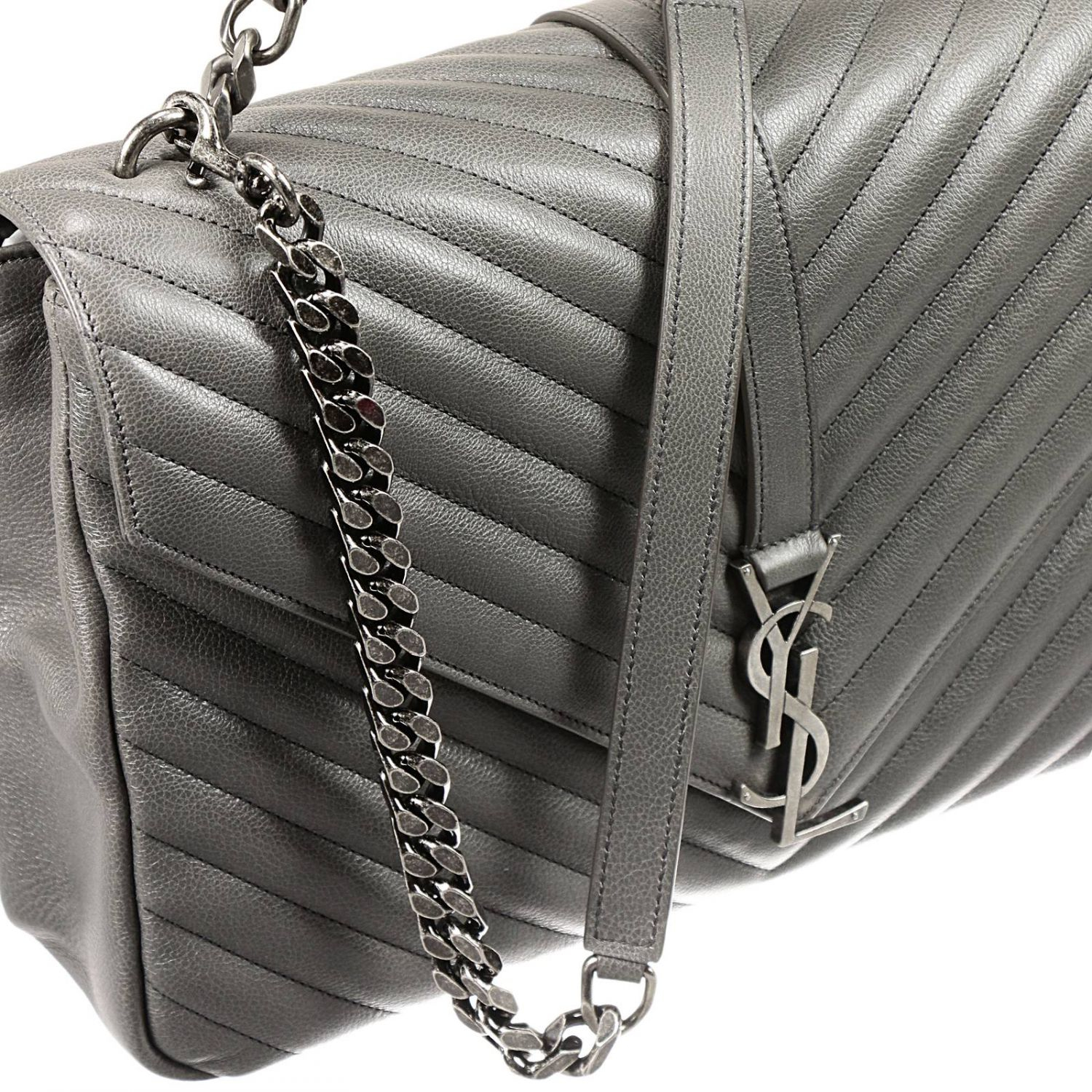 a9c691980b17 Lyst - Saint Laurent Borsa Ysl Bo Mng College L Ginger Fi in Gray
