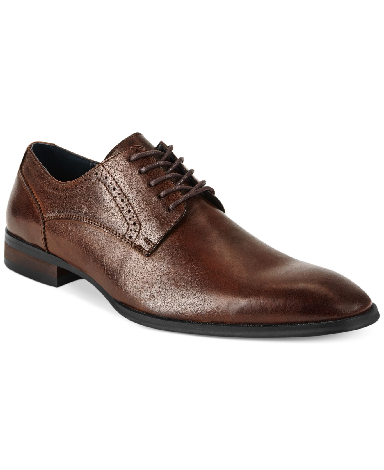 alfani s spin plain toe lace up shoes in brown save