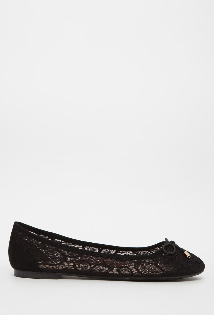 Wedding Table Lace Ballet Flats forever 21 floral lace ballet flats in black lyst gallery womens up flats
