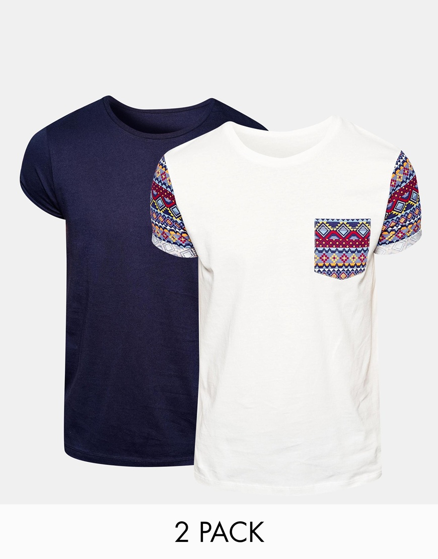 Asos t shirt with aztec pocket and roll sleeve and plain for Plain t shirt pack