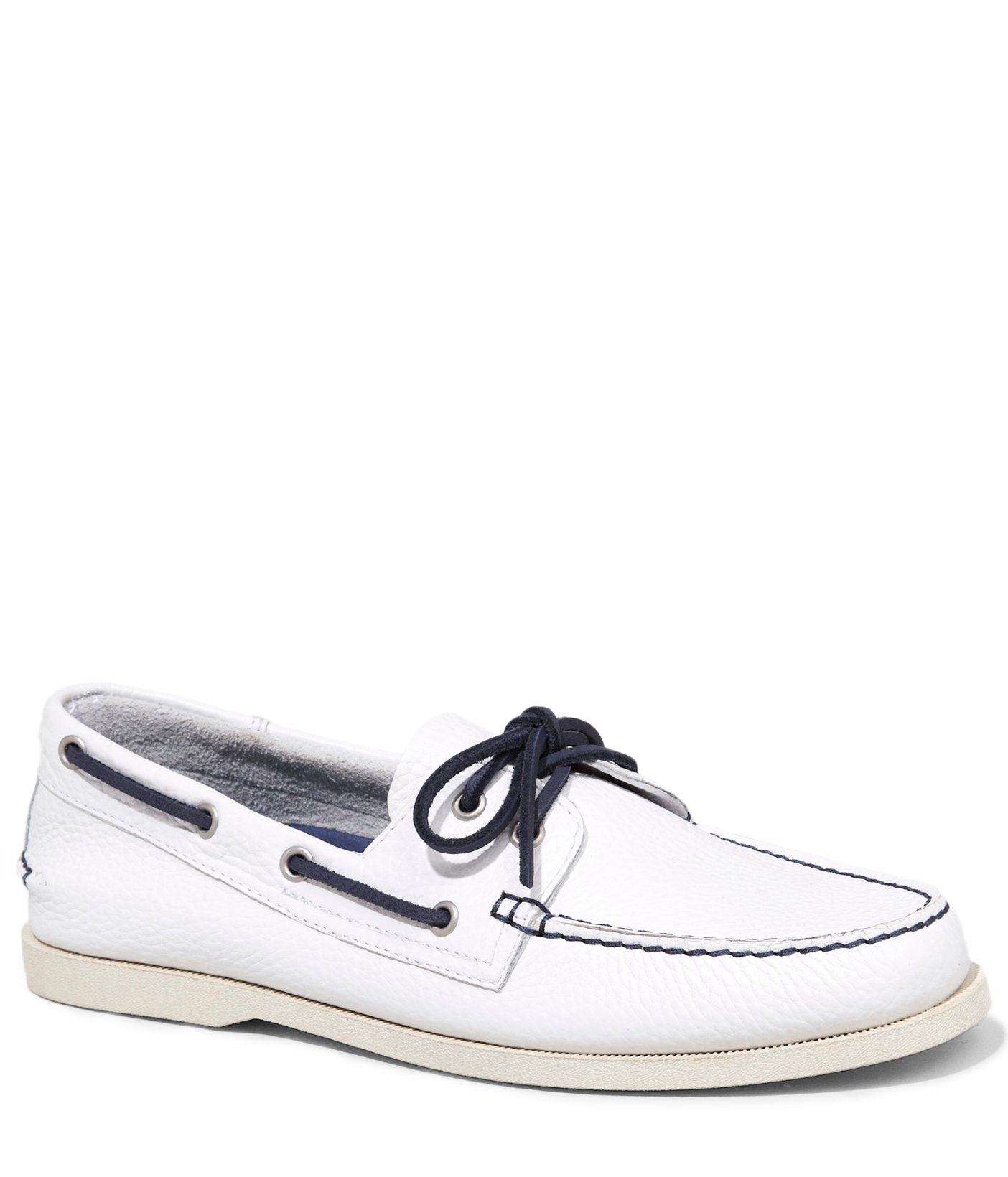 express leather boat shoe in white for white lyst