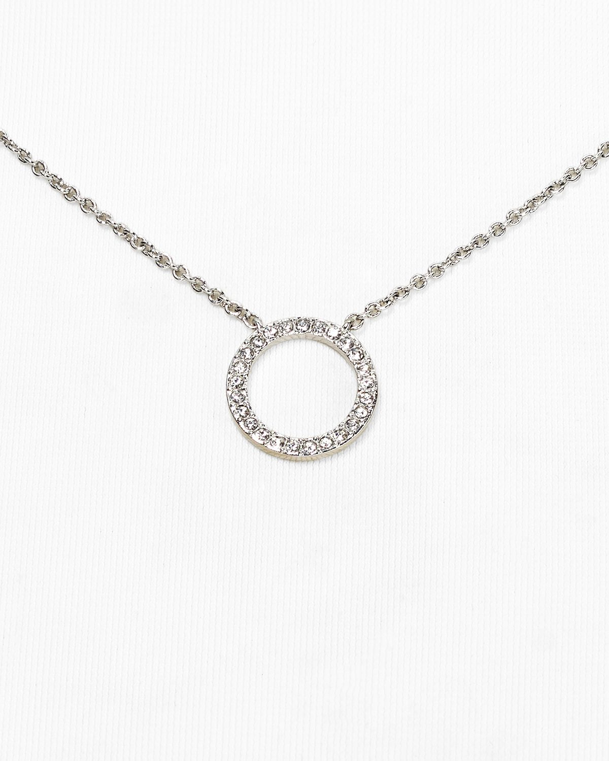 nadri circle pendant necklace 16 quot in silver lyst