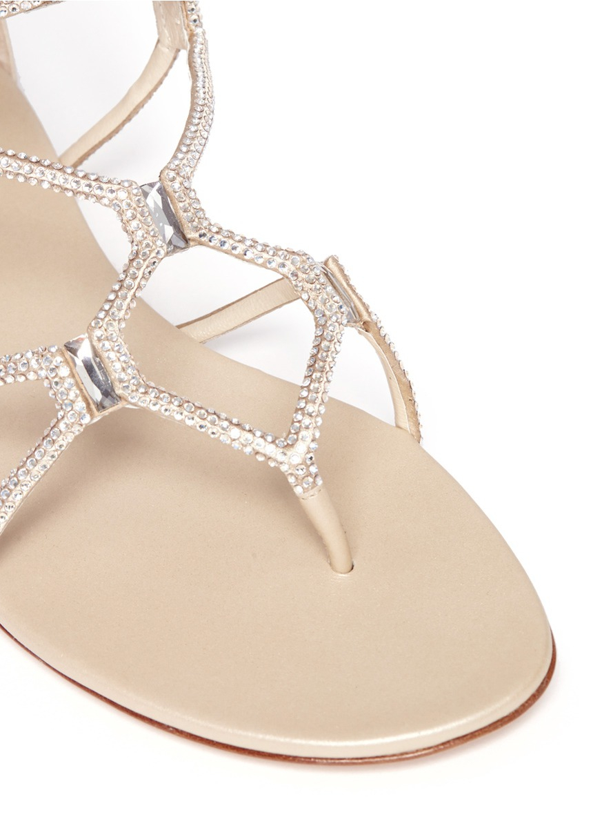 Lyst Rene Caovilla Crystal Embellished Flat Sandals In